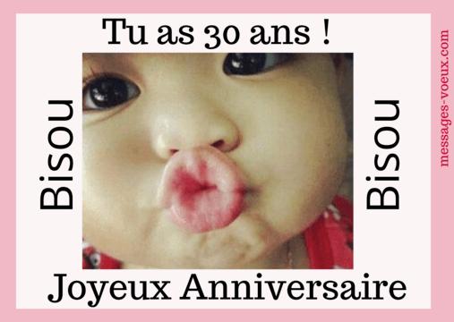 Jolie carte anniversaire 30 ans - Amitié ou Amour