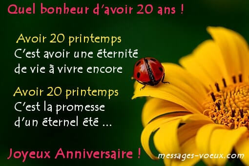 Idees Message Texte Anniversaire 20 Ans Citation Poeme Sms Souhaits
