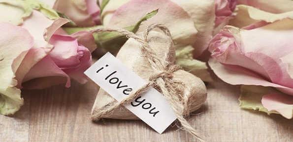 Message je t'aime en anglais avec une image romantique